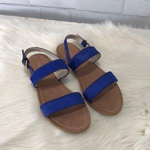 6ed6aa95aad5 Boden Shoes | Calf Hair Blue Louisa Flat Sandals Euc | Poshmark